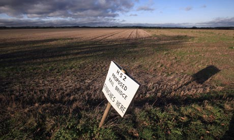 A placard marks where a rail bridge is proposed for the HS2 railway at Middleton, Staffordshire