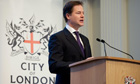 Nick Clegg pitched the John Lewis-economy to business leaders at the Mansion House in London