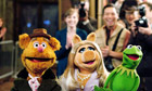 Fozzy, Miss Piggy and Kermit in The Muppets.