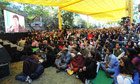 Visitors listen to the Indian poet Prasoon Joshi during the Jaipur Literature Festival
