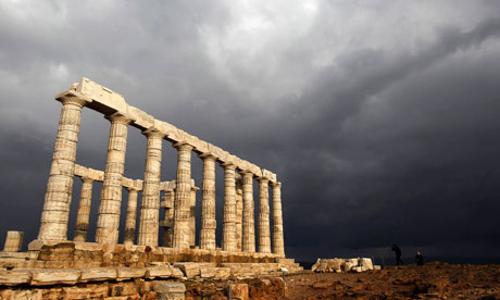 Storm clouds over the Temple of Poseidon at Cape Sounion, south of Athens