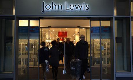 shoppers leaving John Lewis at night