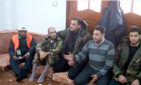 Defected Syrian soldiers meeting Arab League observers in Homs.