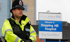 A police officer outside Stepping Hill hospital