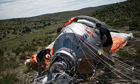 Felix Baumgartner's balloon and capsule, back on earth after the jump.