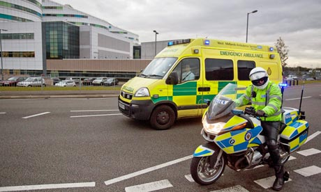 An ambulance believed to be carrying Malala Yusufza, arrives at Queen Elizabeth hospital, Birmingham