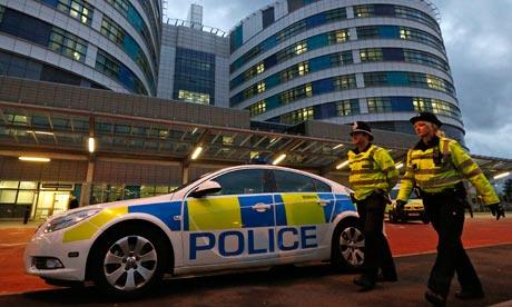 Police at Queen Elizabeth hospital, Birmingham