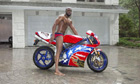 Wyclef Jean on his Ducati