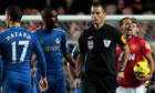 Ramires remonstrates with Mark Clattenburg