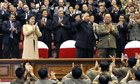 Kim Jong-un, with his wife Ri Sol-ju attend a concert at Kim Il-sung Military University, Pyongyang