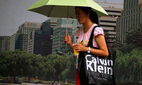 Woman with Calvin Klein bag