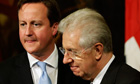 Mario Monti and David Cameron