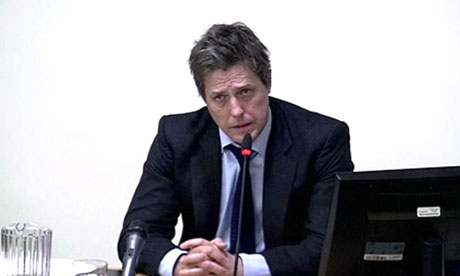 Hugh Grant giving evidence at the Leveson inquiry.