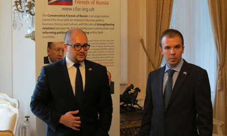 Sergey Nalobin, left, at the launch of Conservative Friends of Russia at the Russian embassy