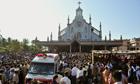The ambulance carrying Jacintha Saldanha's body arrives at church