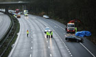 Police on the M6 motorway, after its northbound carriageway was closed after a crash.