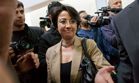 Hanin Zoabi arrives for the supreme court hearing, in Jerusalem.