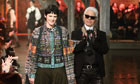 Stella Tennant and Karl Lagerfeld on the catwalk in the Chanel show at Linlithgow Palace.