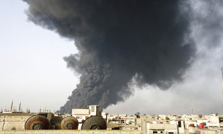 Black smoke is seen from Homs refinery, February 15, 2012.