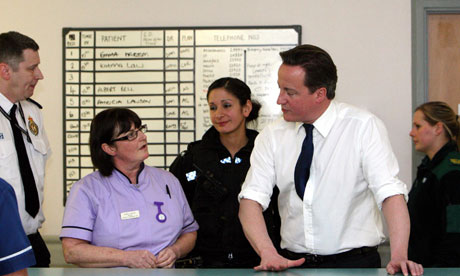 Prime Minister David Cameron at Royal Victoria Infirmary Hospital in Newcastle