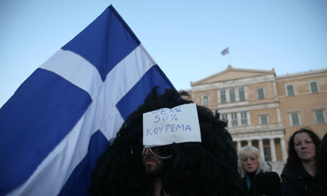 Greek protester against cuts, Athens