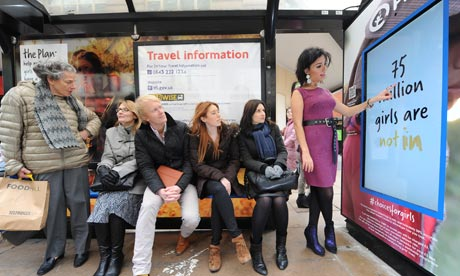 The Plan UK gender-specific ad in Oxford Street, London