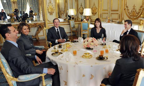 Bashar al-Assad and his wife lunching at the Elysée palace, 2010