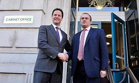 Ed Davey is welcomed to the Cabinet Office by Nick Clegg.