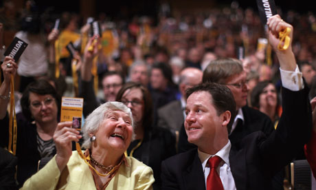 Nick Clegg and Shirley Williams