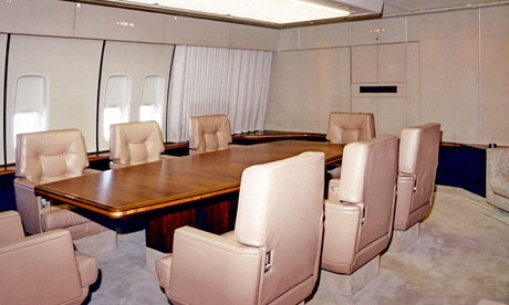 A conference/dining room on Air Force One