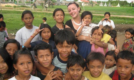 Catrin Griffiths with her Cambodian pupils