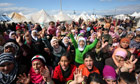 Syrian refugees protest against President Bashar al-Assad