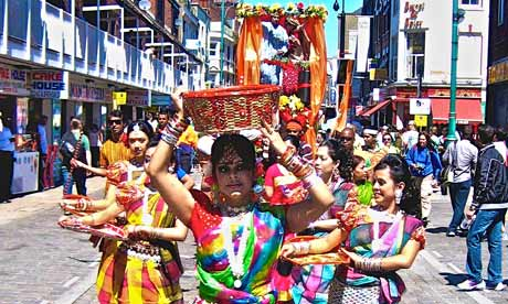 A Baishakhi Mela procession in Spitalfields