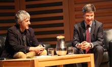 US Economist Jeffrey Sachs (right) talks to Larry Elliott