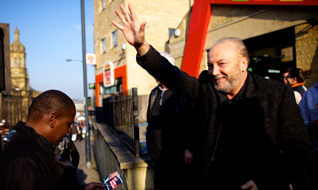 Respect party candidate George Galloway campaigning in Bradford West