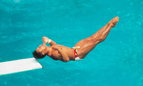 US diver Greg Louganis making dive during which he hit his head on the