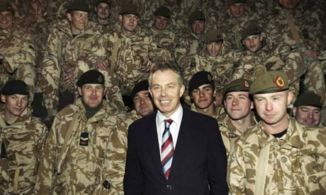 Tony Blair meets British troops in Iraq