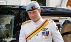 Prince Harry arrives at Christchurch Cathedral, Nassau, 4 March 2012