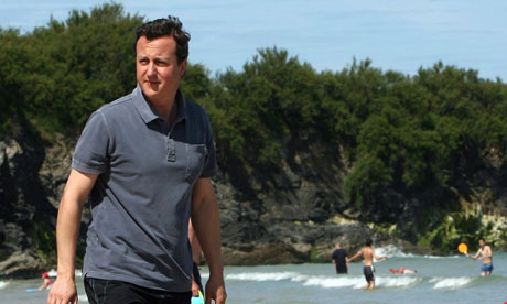 'Looking relaxed there, Dave' … The PM on holiday