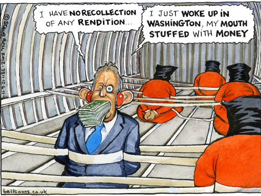 Steve Bell on Tony Blair and rendition - cartoon