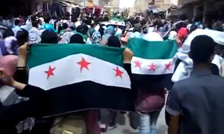 Syrian video still of demonstration in Deir el-Zour