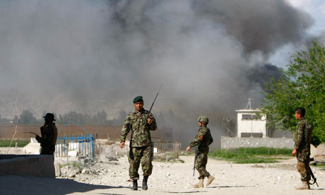Soldiers from the Afghan National Army keep watch in Jalalabad