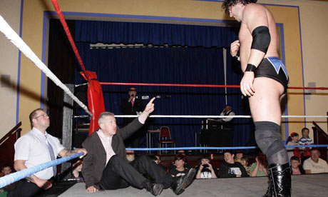 Lembit Opik wrestling with Kade Callous