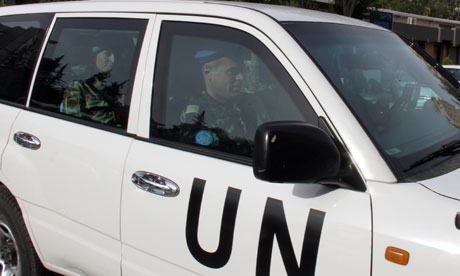 Members of a UN monitors team, tasked with monitoring the ceasefire in Syria, arrive in Damascus