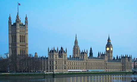 A view of the Houses of Parliament over the River Thames in London