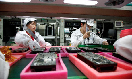 Employees at a Foxconn plant in Shenzhen, China.
