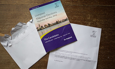 A booklet listing candidates for the Liverpool's mayoral election.