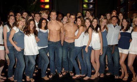 Staff with models at the opening of Abercrombie & Fitch's London store ...