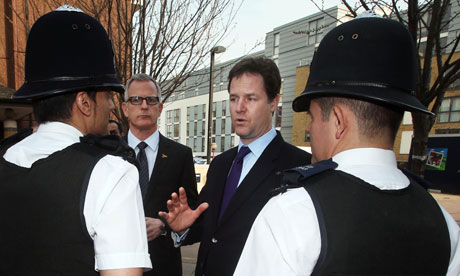 Brian Paddick with Liberal Democrat leader Nick Clegg speaks to police officers in Islington