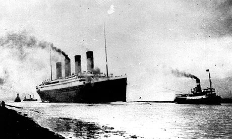 The Titanic departs Southampton on its maiden voyage, on 15 April 2012.